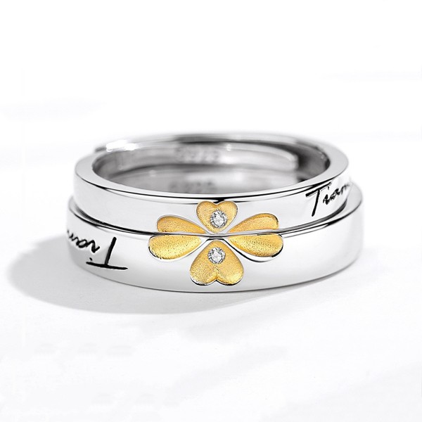 Adjustable Four Leaf Clover Ti Amo Promise Ring For Couples In Sterling Silver