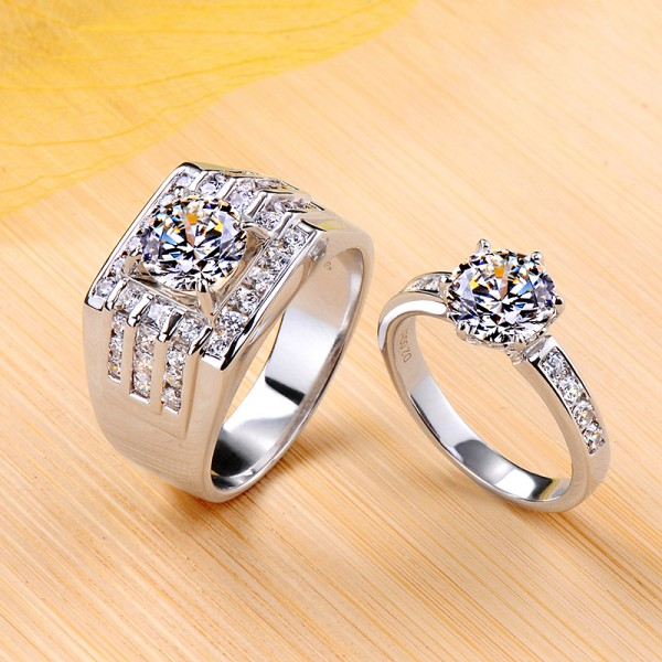 Engravable 2 ct Round Cut Moissanite Couple Wedding Bands In Silver