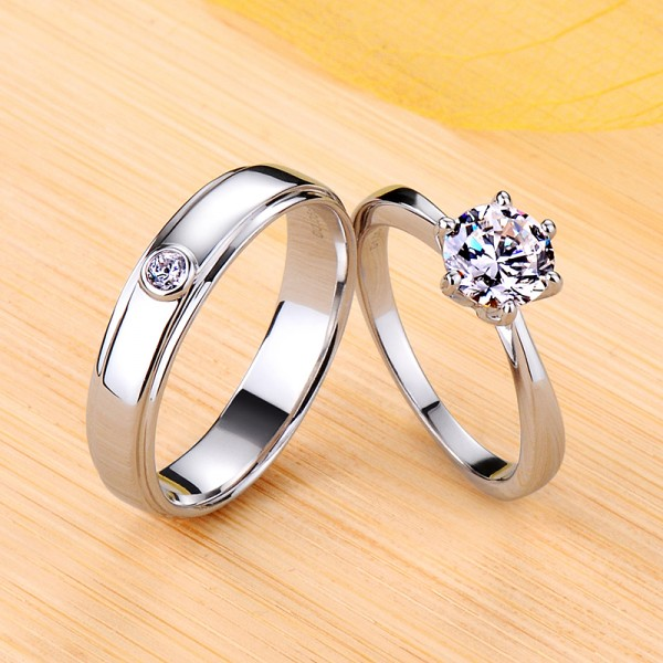 Engravable Simple Round Cut Moissanite Couple Wedding Bands In Silver