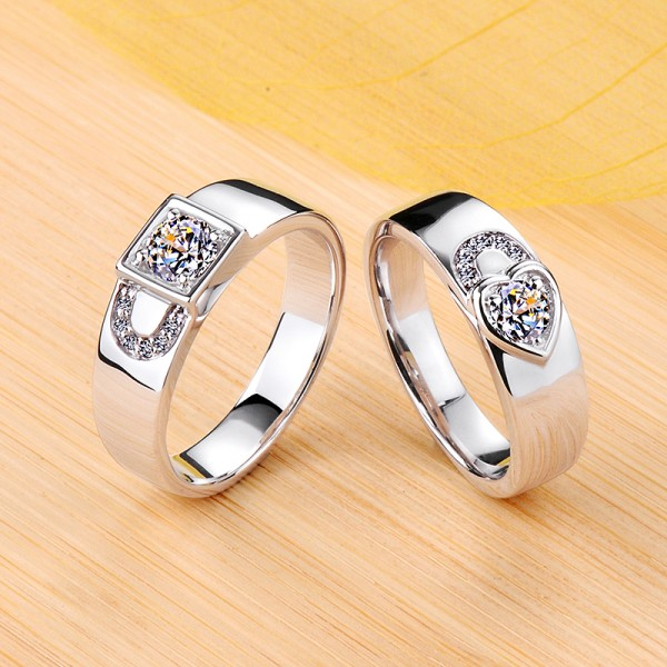 Personalized Lock Moissanite Couple Wedding Bands In Silver