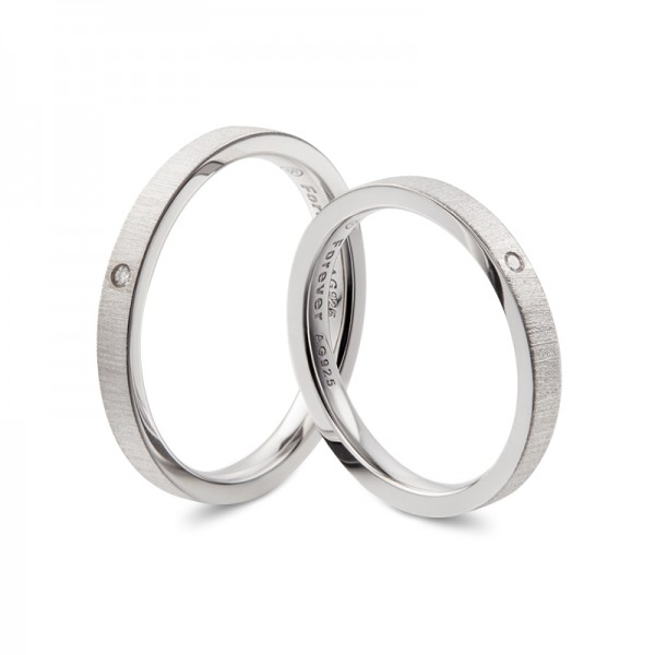 Personalized Frosted Wedding Bands For Couples In Sterling Silver