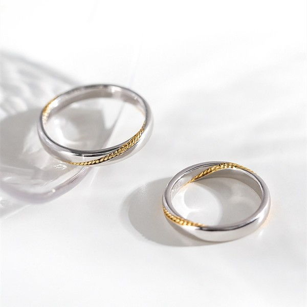 Original Mooring Wedding Rings For Couples In Silver plated 18K Gold