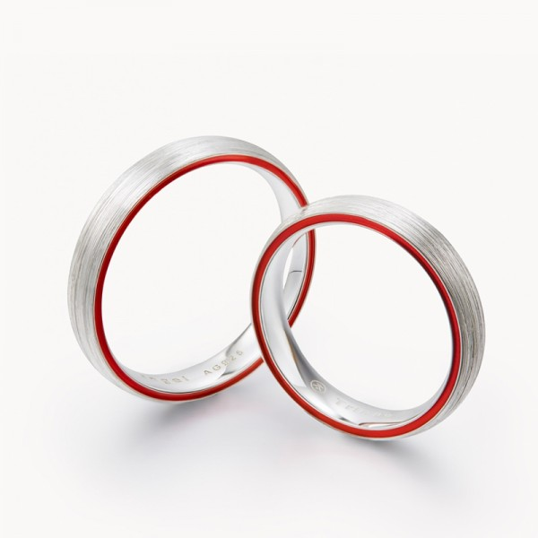 Original Red Line Frosted Rings For Couples In Sterling Silver