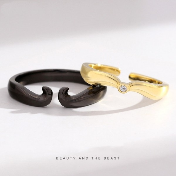 Adjustable Beauty And The Beast Promise Rings For Couples In Sterling Silver