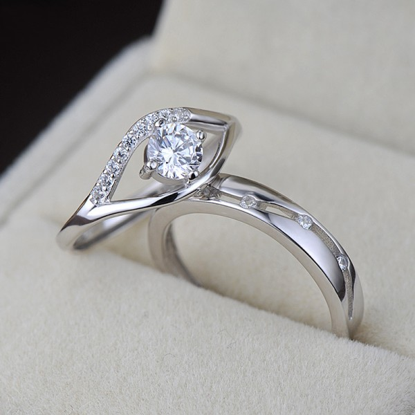 Adjustable CZ Promise Rings For Couples In 925 Sterling Silver