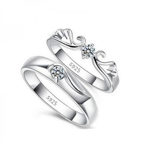 Adjustable CZ Angel Promise Rings For Couples In 925 Sterling Silver