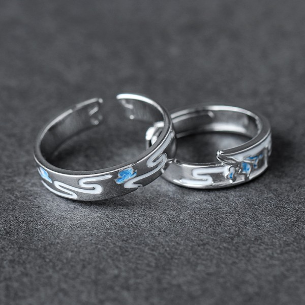 Adjustable Unique Matching Rings For Couples In Sterling Silver