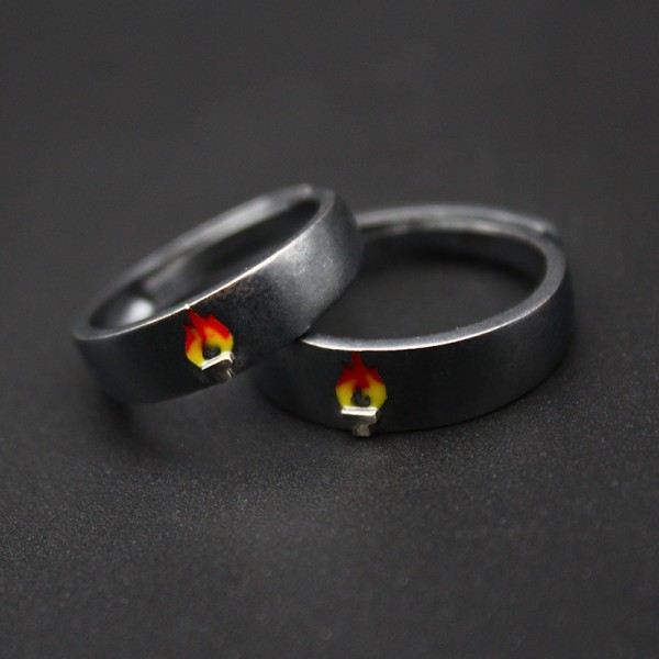 Adjustable Unique Torch Rings For Couples In Sterling Silver