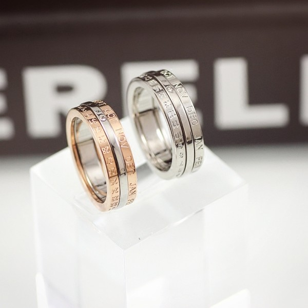 Rotatable Love You Every Day Rings For Couples In Titanium