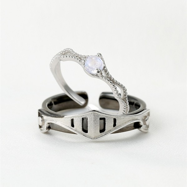Adjustable Princess And Knight Promise Rings For Couples In Sterling Silver