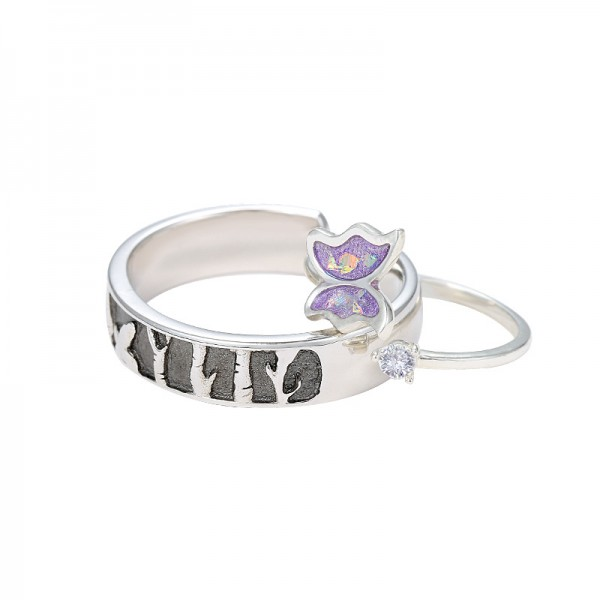 Engravable Butterfly Elves Promise Rings For Couples In Sterling Silver