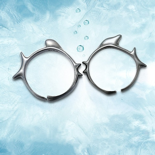 Adjustable Kissing Fish Promise Rings For Couples In Sterling Silver