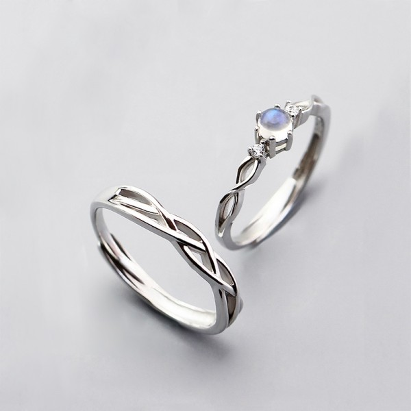 Adjustable Knot Promise Rings For Couples In Sterling Silver