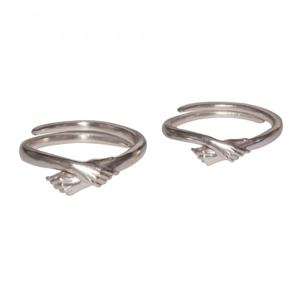Adjustable Give You A Hug Promise Rings For Couples In Sterling Silver