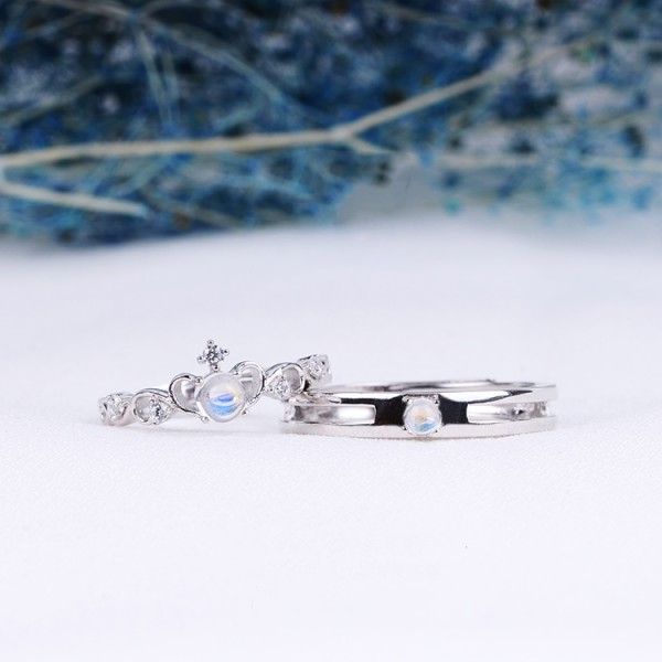 Adjustable Crown Matching Promise Rings For Couples In Sterling Silver