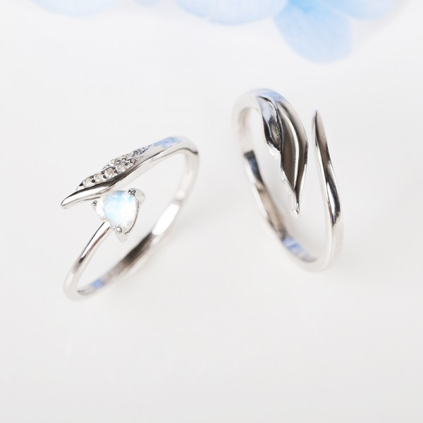 Adjustable Cupid's Arrow Matching Promise Rings For Couples In Sterling Silver