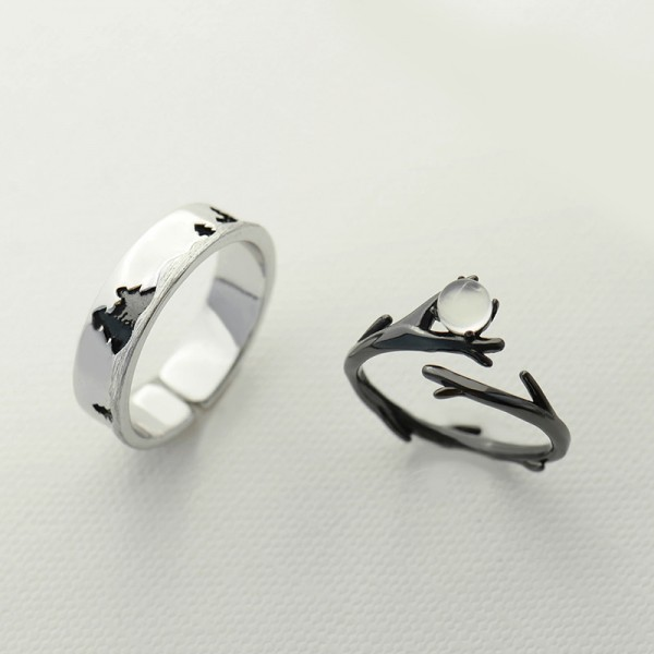 Adjustable Moonlight Forest Matching Promise Rings For Couples In Sterling Silver