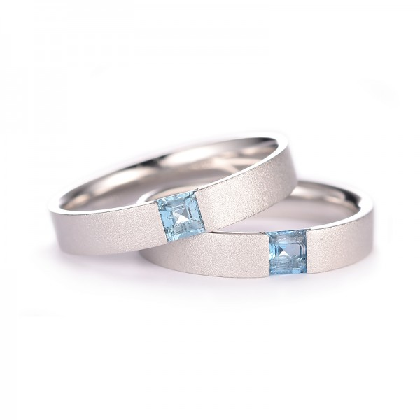Engravable Silver Plated White Gold Matching Wedding Bands