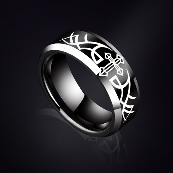Engravable Cross Tungsten Wedding Ring For Men