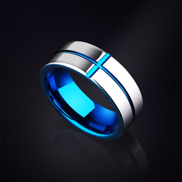 Engravable Cross Tungsten Wedding Band For Men