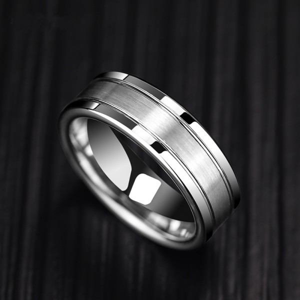 Engravable Frosted Tungsten Carbide Ring For Men