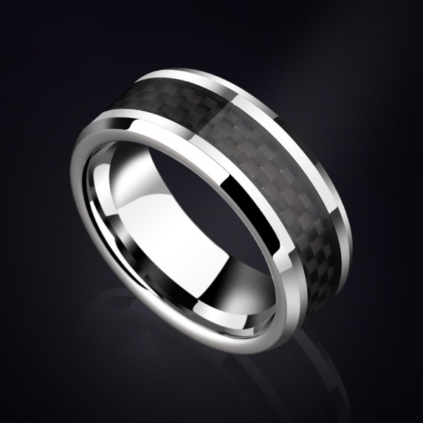 Engravable Black Tungsten Carbide Ring For Men