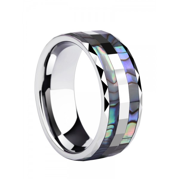 Unique 8mm Shells Tungsten Carbide Ring For Men