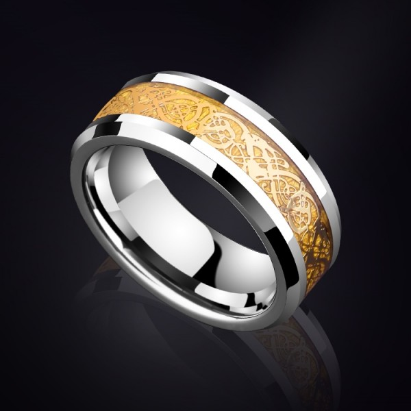 Unique 8mm Dragon Pattern Tungsten Carbide Ring For Men