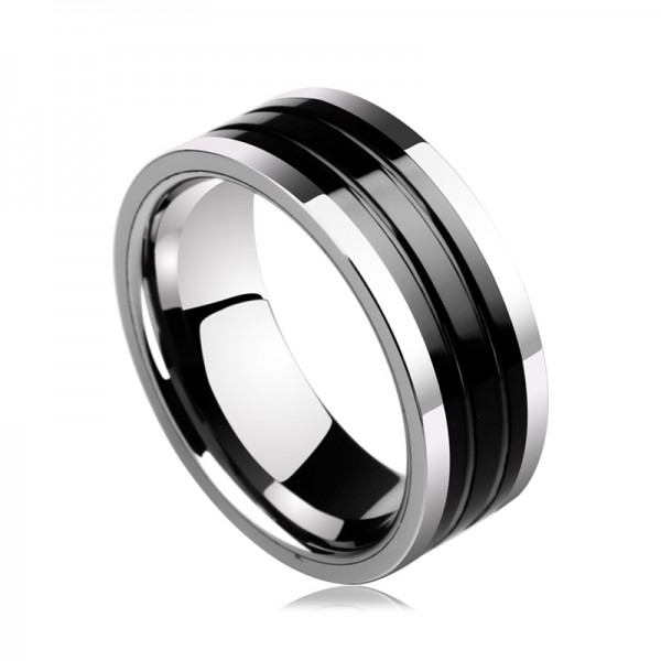 Engravable Simple Black Turquoise Carbide Ring For Men