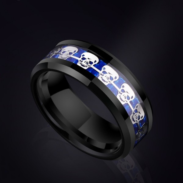 Personalized Skull Tungsten Ring For Men