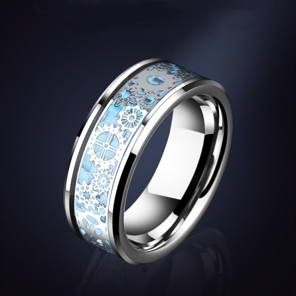 Engravable Mechanical Gear Tungsten Ring For Men