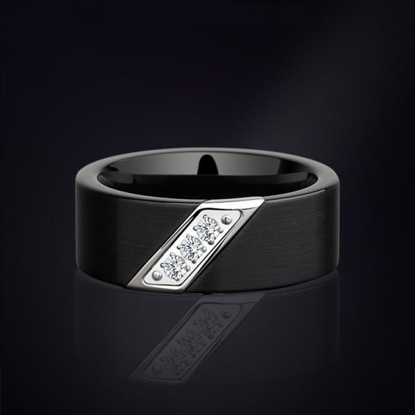 Engravable Black Promise Ring For Men In Tungsten