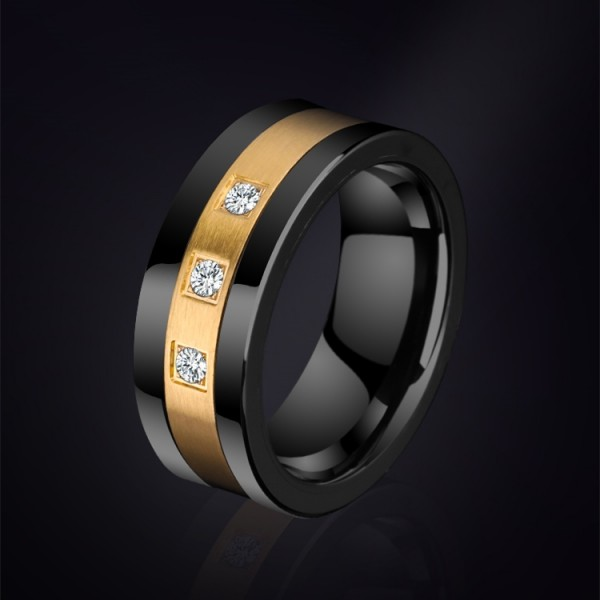 Personalized Cubic Zirconia Promise Ring For Men In Tungsten