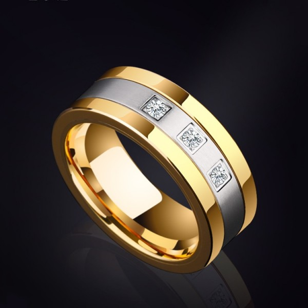 Engravable Men's Cubic Zirconia Wedding Band In Tungsten