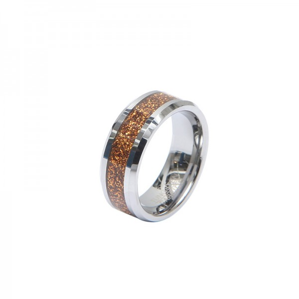 Personalized Flame Tungsten Ring For Men