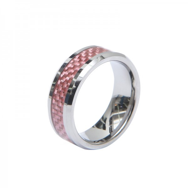 Personalized Pink Tungsten Carbide Ring