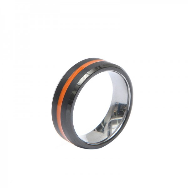 Engravable Red And Black Tungsten Ring