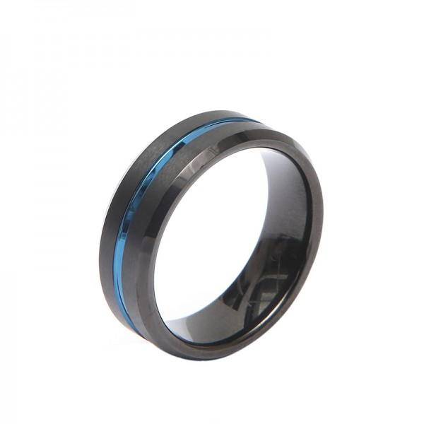 Engravable Blue And Black Two-Tone Tungsten Ring For Men