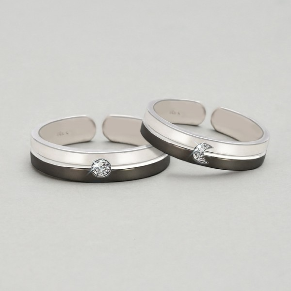 Engravable Sun And Moon Day And Night Matching Rings For Couples
