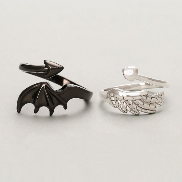 Personalized Angel And Devil Matching Rings In Sterling Silver