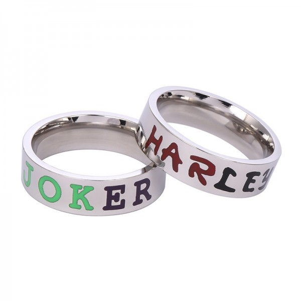 Personalized Joker And Harley Rings For Couples In Titanium