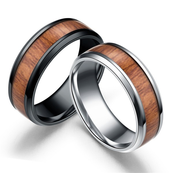 Personalized Wooden Rings For Couples In Titanium