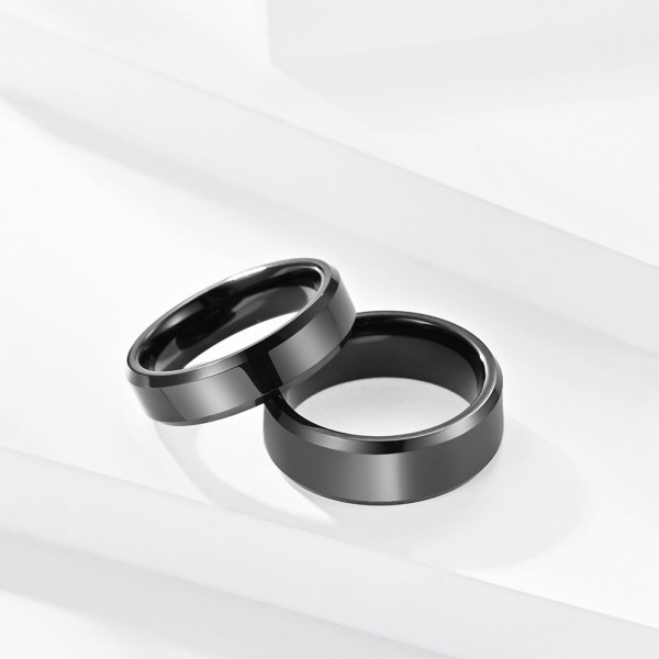 Engravable Simple Black Tungsten Rings For Couples
