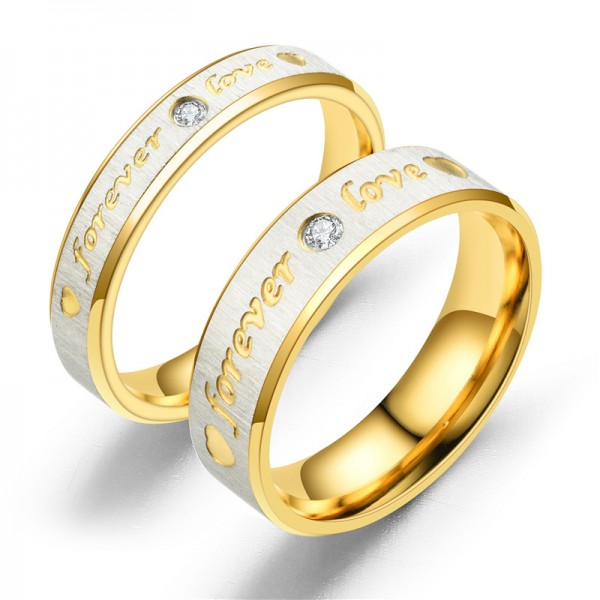 Engravable Forever Love Matching Rings For Couples In Titanium