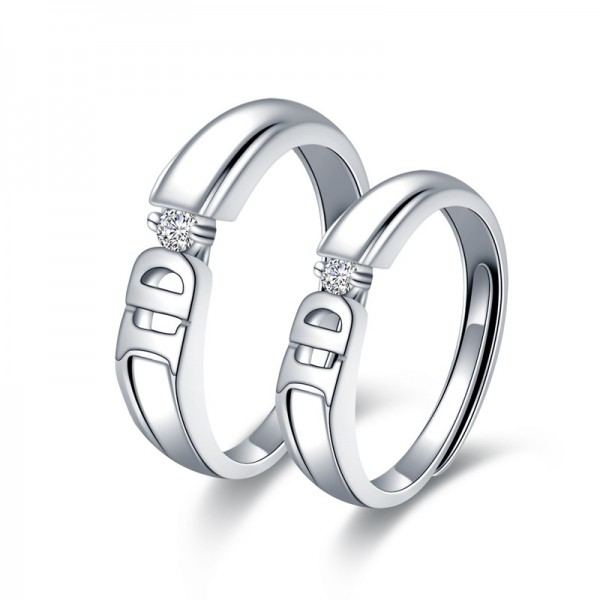 Adjustable I Do Promise Rings For Couples In Sterling Silver