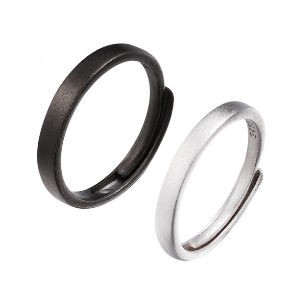 Adjustable Day And Night Rings For Couples In Sterling Silver