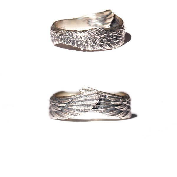 Adjustable Angel Wings Rings For Couples In Sterling Silver