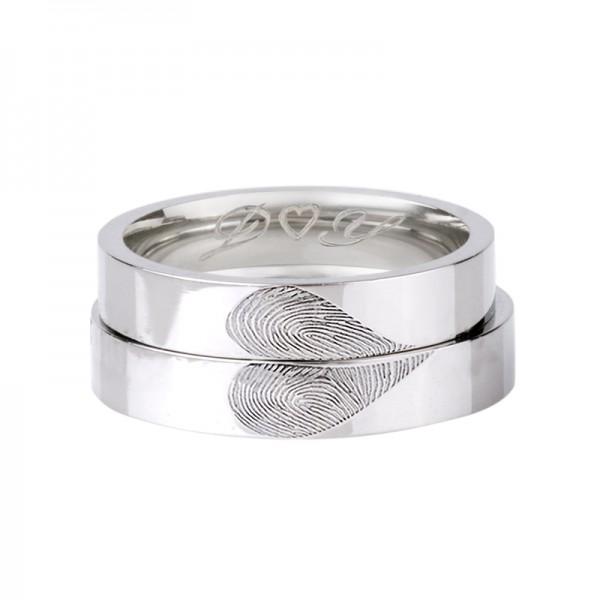 Engravable Fingerprint Heart Promise Rings For Couples In Sterling Silver