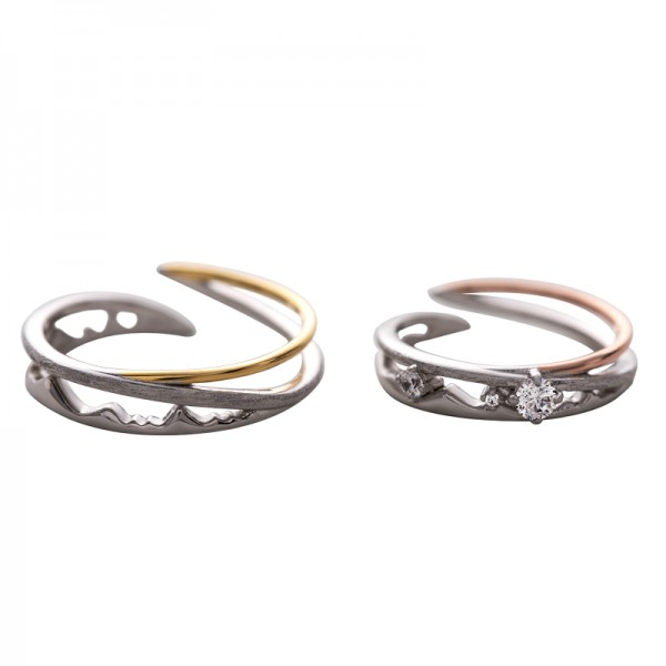 Adjustable Unique Promise Rings For Couples In Sterling Silver