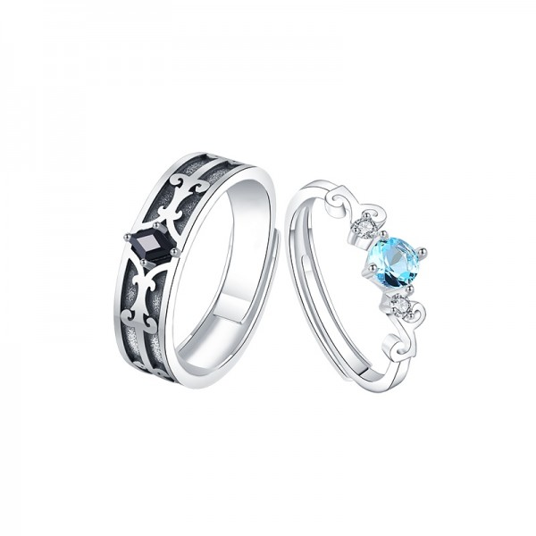 Adjustable Magic Gemstone Promise Rings For Couples In Sterling Silver